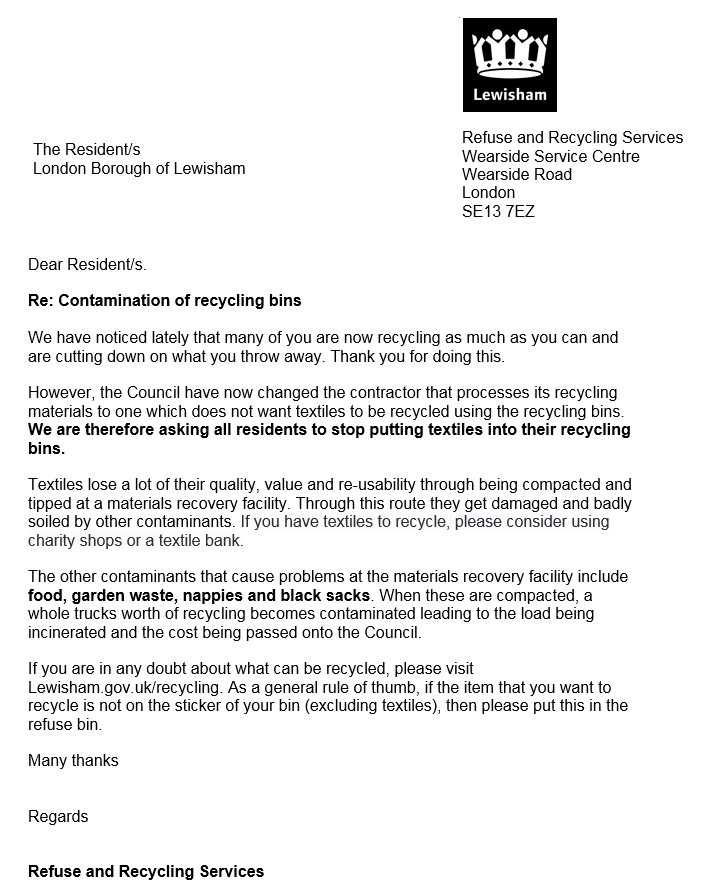 Letter to residents recycling