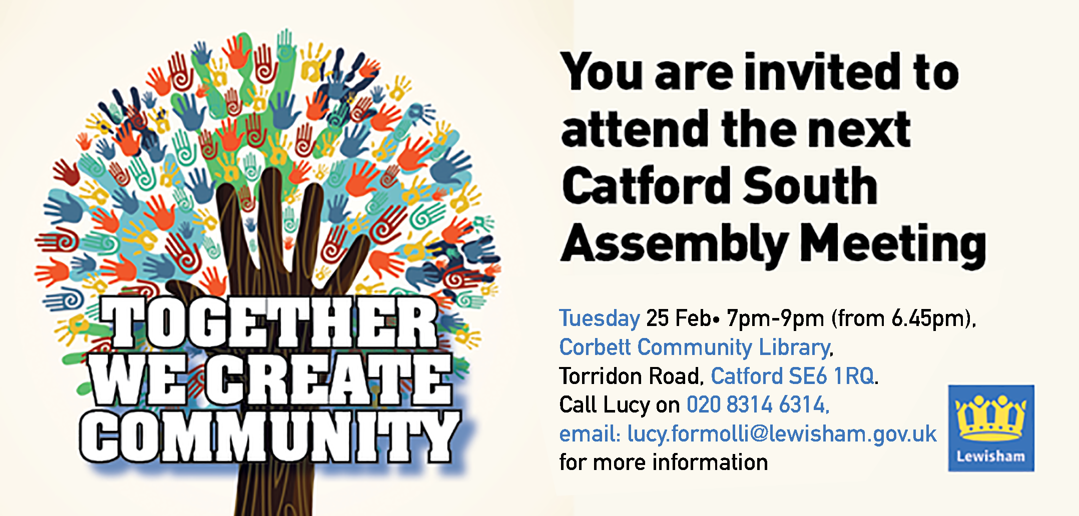 Catford South Local Assembly meeting – Tuesday 25 February. 7pm